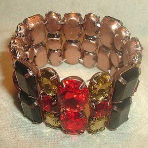 Bold Colorful Rhinestone Stretch Bracelet